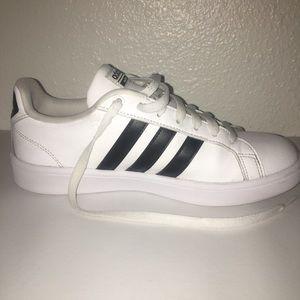 Adidas Neo Cloudfoam White Three Black Stripes 8.5